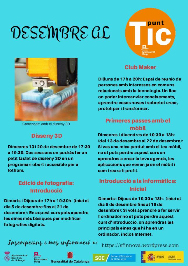 Activitats de desembre 2017 al Punt TIC